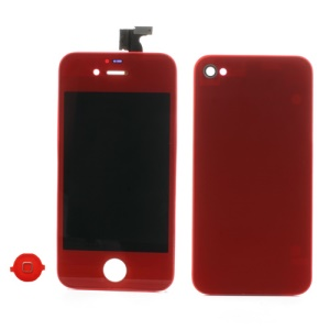 Red for iPhone 4 Colored Conversion Kit (LCD Assembly + Battery Cover + Home Button)