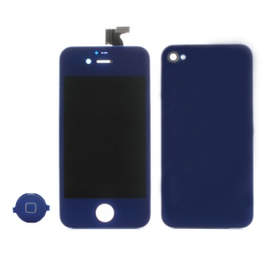 Dark Blue for iPhone 4 Colored Conversion Kit (LCD Assembly + Battery Cover + Home Button)