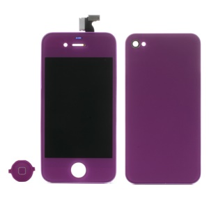 Purple for iPhone 4 Colored Conversion Kit (LCD Assembly + Battery Cover + Home Button)