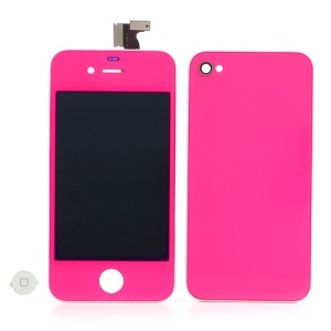Hot Pink for iPhone 4 Conversion Kit (LCD Assembly + Battery Cover + White Home Button)