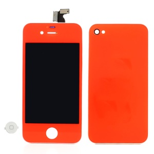 Red Orange for iPhone 4 Conversion Kit (LCD Assembly + Battery Cover + White Home Button)