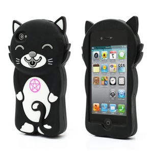 3D Cute Happy Cat Shaped Silicone Case Cover for iPhone 4 4S - Black