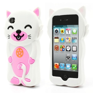3D Cute Happy Cat Shaped Silicone Case Cover for iPhone 4 4S - White