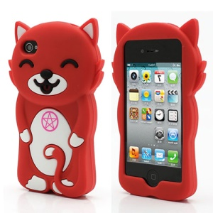 3D Cute Happy Cat Shaped Silicone Case Cover for iPhone 4 4S - Red