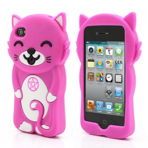 3D Cute Happy Cat Shaped Silicone Case Cover for iPhone 4 4S - Rose