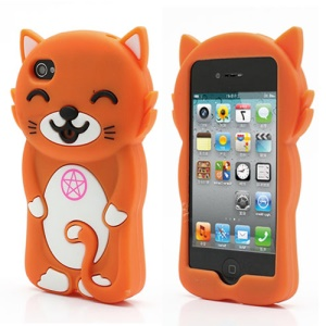3D Cute Happy Cat Shaped Silicone Case Cover for iPhone 4 4S - Orange