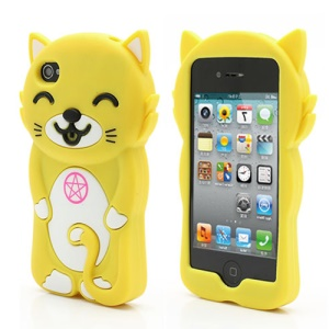 3D Cute Happy Cat Shaped Silicone Case Cover for iPhone 4 4S - Yellow