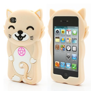 3D Cute Happy Cat Shaped Silicone Case Cover for iPhone 4 4S - Beige