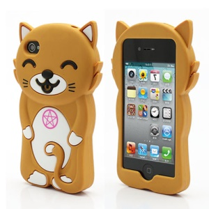 3D Cute Happy Cat Shaped Silicone Case Cover for iPhone 4 4S - Brown