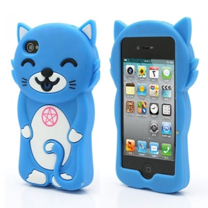 3D Cute Happy Cat Shaped Silicone Case Cover for iPhone 4 4S - Blue