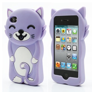 3D Cute Happy Cat Shaped Silicone Case Cover for iPhone 4 4S - Purple