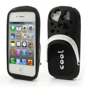 PIZU 3D Cute Slippers Candy Smell Silicone Back Case Skin for iPhone 4 4S - Black