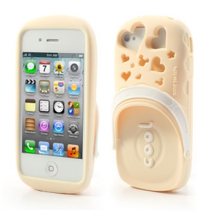 PIZU 3D Cute Slippers Candy Smell Silicone Back Case Skin for iPhone 4 4S - Beige