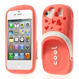 PIZU 3D Cute Slipper Candy Smell Silicone Case for iPhone 4 4S - Watermelon Red
