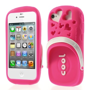 PIZU 3D Cute Slipper Candy Smell Silicone Case for iPhone 4 4S - Rose