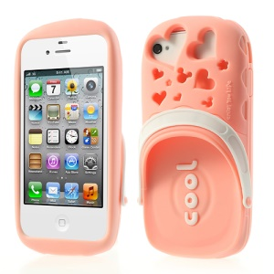 PIZU 3D Cute Slipper Candy Smell Silicone Skin for iPhone 4 4S - Pink