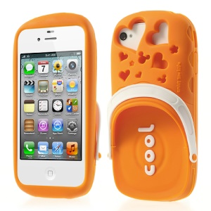 PIZU 3D Cute Slipper Candy Smell Silicone Skin for iPhone 4 4S - Orange