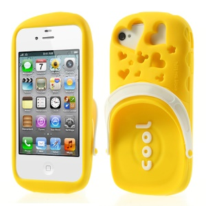 PIZU 3D Cute Slipper Candy Smell Silicone Skin for iPhone 4 4S - Yellow