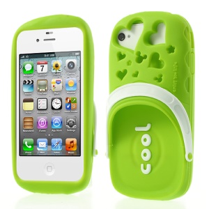 PIZU 3D Cute Slipper Candy Smell Silicone Cover for iPhone 4 4S - Green