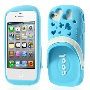 PIZU 3D Cute Slipper Candy Smell Silicone Cover for iPhone 4 4S - Blue