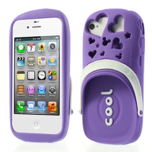 PIZU 3D Cute Slipper Candy Smell Silicone Cover for iPhone 4 4S - Purple