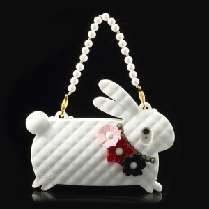 White Candies Cliche Miss Rabbit for iPhone 4 4S Silicone Case Handbag