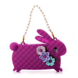 Rose Candies Cliche Miss Rabbit for iPhone 4 4S Silicone Case Handbag
