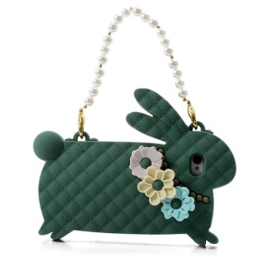 Dark Green Candies Cliche Miss Rabbit for iPhone 4 4S Silicone Cover Handbag