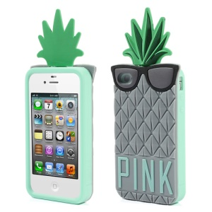 Grey 3D Glasses Pineapple Silicone Cover for iPhone 4 4S