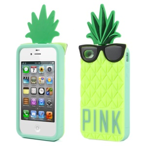 Yellowgreen 3D Glasses Pineapple for iPhone 4 4S Silicone Case