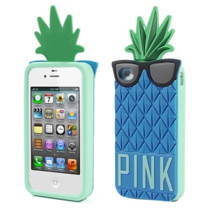 Blue 3D Glasses Pineapple for iPhone 4 4S Silicone Shell