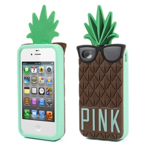 Brown 3D Glasses Pineapple for iPhone 4 4S Silicone Shell