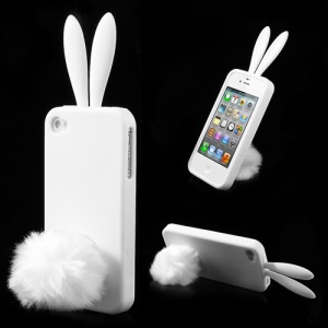 White Cute Ears Rabbit Silicone Case for iPhone 4 4S w/ Tail Stand