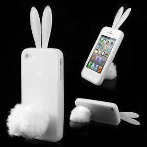 Transparent Cute Ears Rabbit Silicone Cover for iPhone 4 4S w/ Tail Stand