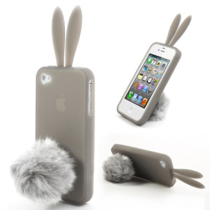 Grey Cute Ears Rabbit Silicone Cover for iPhone 4 4S w/ Tail Stand