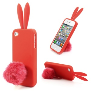 Red Cute Ears Rabbit Silicone Cover for iPhone 4 4S w/ Tail Stand