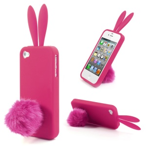 Rose Cute Ears Rabbit Silicone Shell for iPhone 4 4S w/ Tail Stand