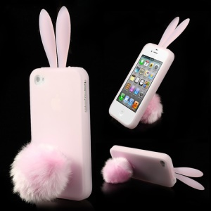 Pink Cute Ears Rabbit Silicone Shell for iPhone 4 4S w/ Tail Stand