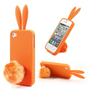Orange Cute Ears Rabbit Silicone Shell for iPhone 4 4S w/ Tail Stand