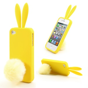 Yellow Cute Ears Rabbit Tail Stand Silicone Case for iPhone 4 4S