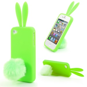 Green Cute Ears Rabbit Tail Stand Silicone Case for iPhone 4 4S