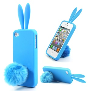 Blue Cute Ears Rabbit Tail Stand Silicone Case for iPhone 4 4S