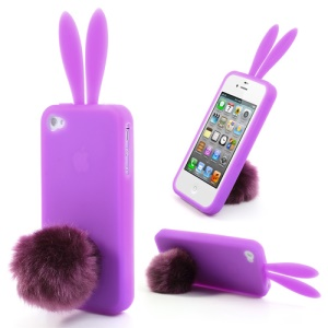 Purple Cute Ears Rabbit Tail Stand Silicone Cover for iPhone 4 4S
