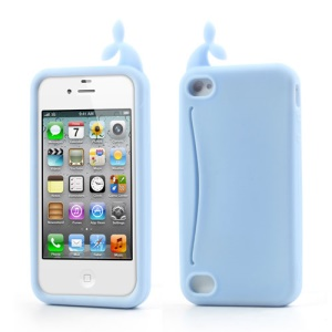 Light Blue Joosepino Feed Me Whale for iPhone 4 4S Silicone Shell