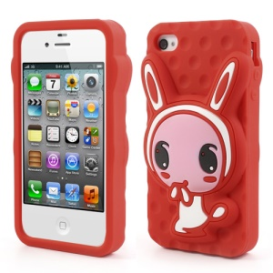 Red for iPhone 4 4S Adorable Rabbit Silicone Cover