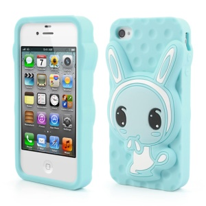 Light Blue for iPhone 4 4S Adorable Rabbit Silicone Case