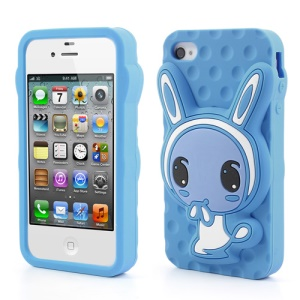 Dark Blue for iPhone 4 4S Adorable Rabbit Silicone Case
