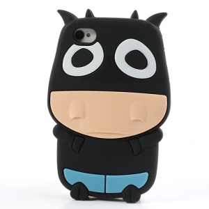 Black Lovely 3D Cow Soft Silicone Case for iPhone 4 4S