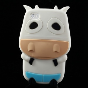 White Lovely 3D Cow Soft Silicone Cover for iPhone 4 4S