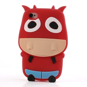 Red Lovely 3D Cow Soft Silicone Cover for iPhone 4 4S